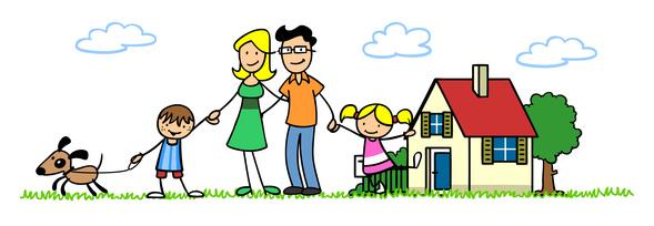 Familie mit Kindern vor Haus
